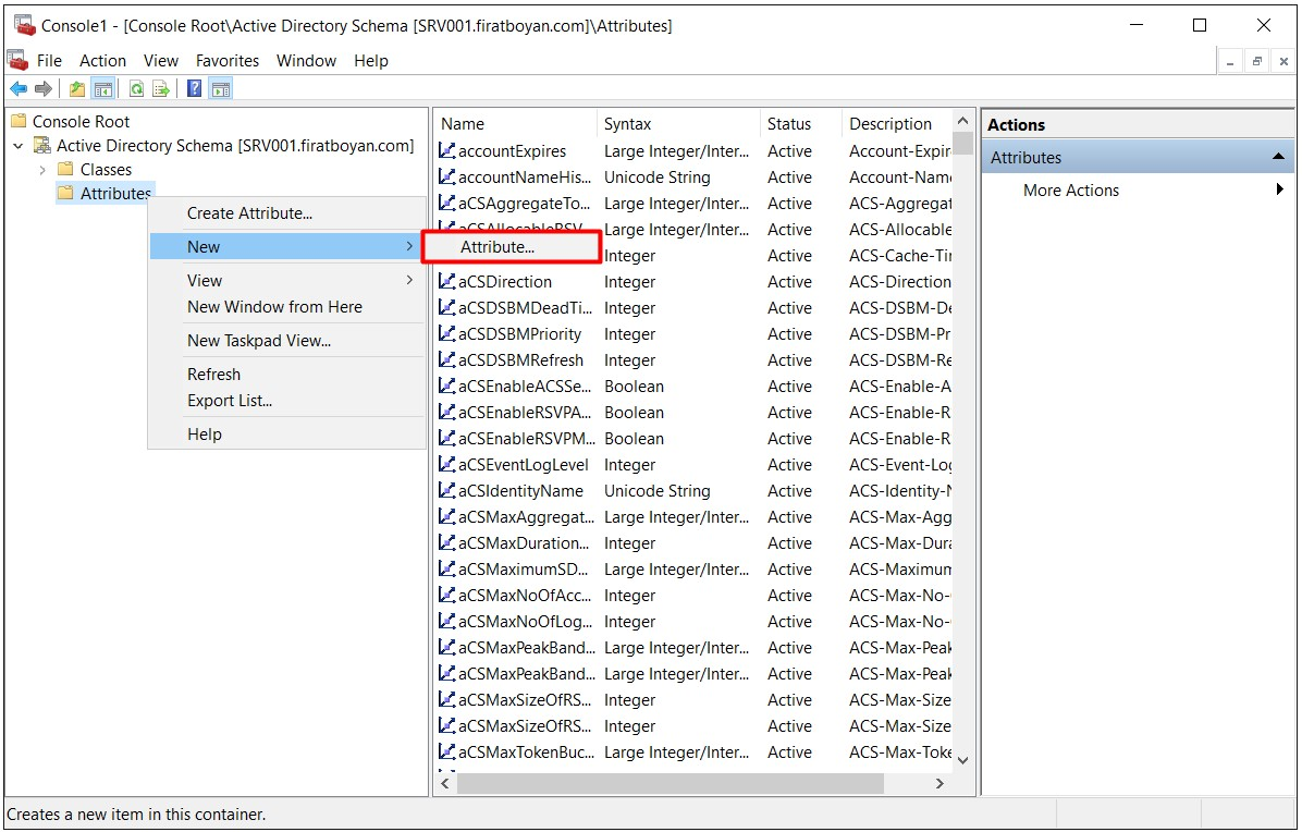 Active Directory Schema Attribute EKleme