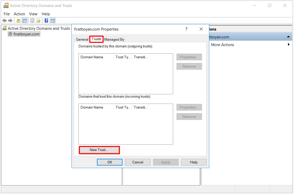 active directory domains and trust kurulumu