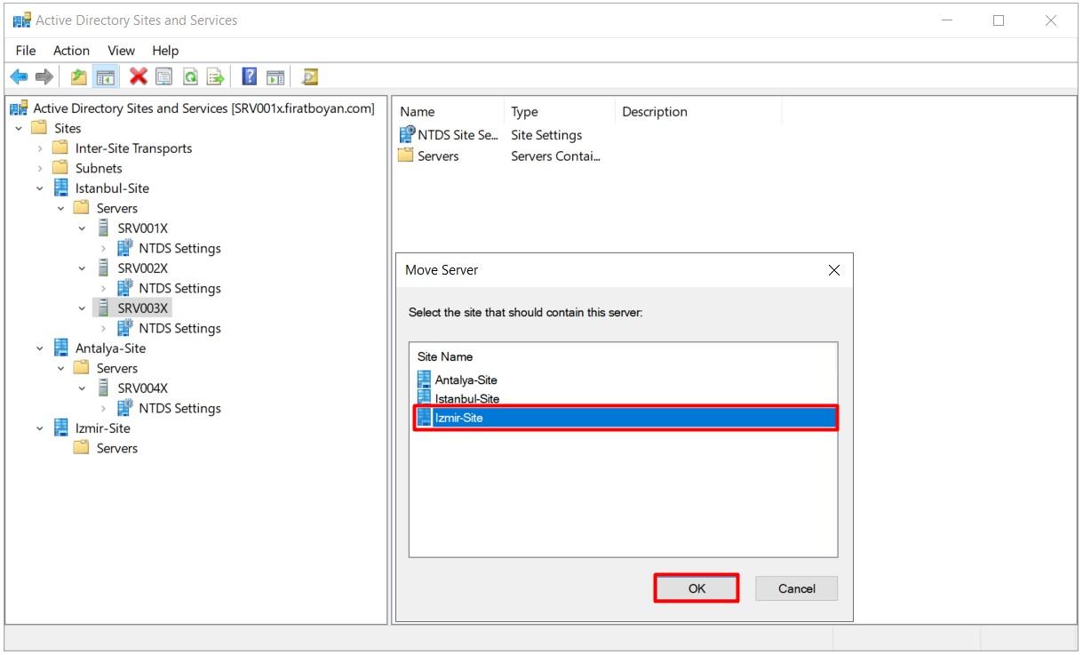 Active Directory Sites and Services Yapılandırma