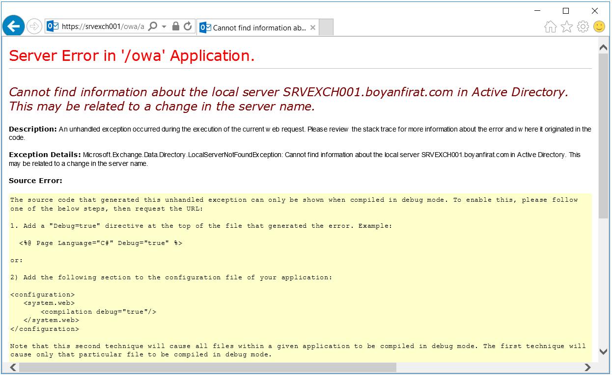 exchange server error