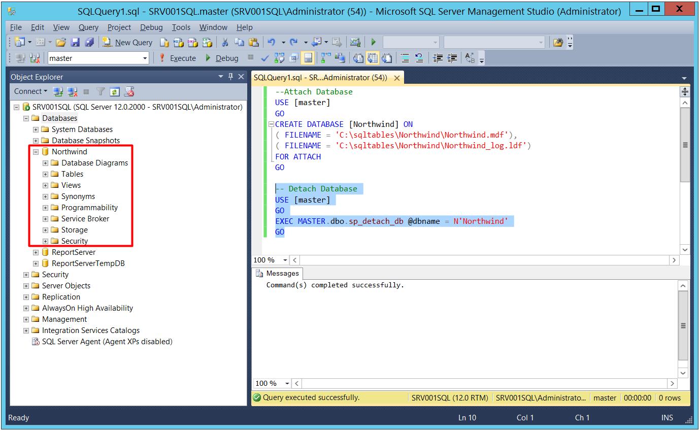 database veritabanı attach ve detach etme işlemi