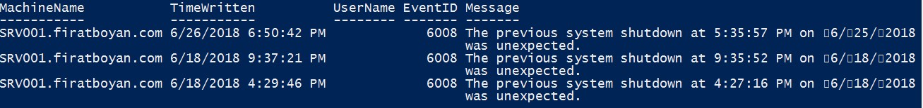 Event ID 1074,1076,6008