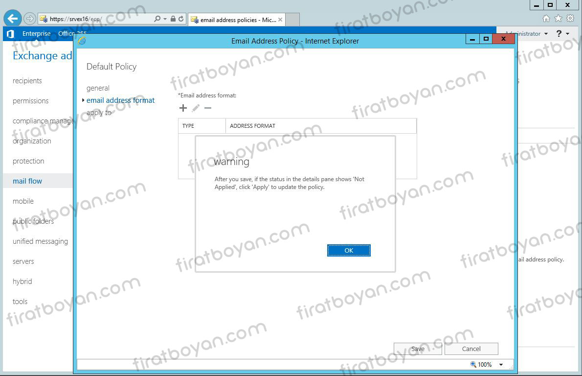 exchange server 2016 accepted domain