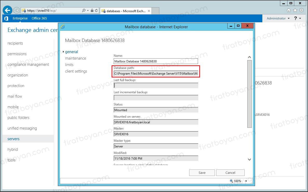 Mailbox Database Path Değiştirme