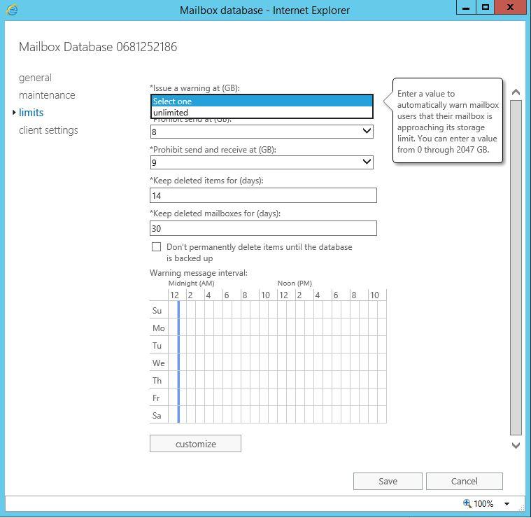 Exchange Server 2016 Mailbox Boyutu Yapılandırması