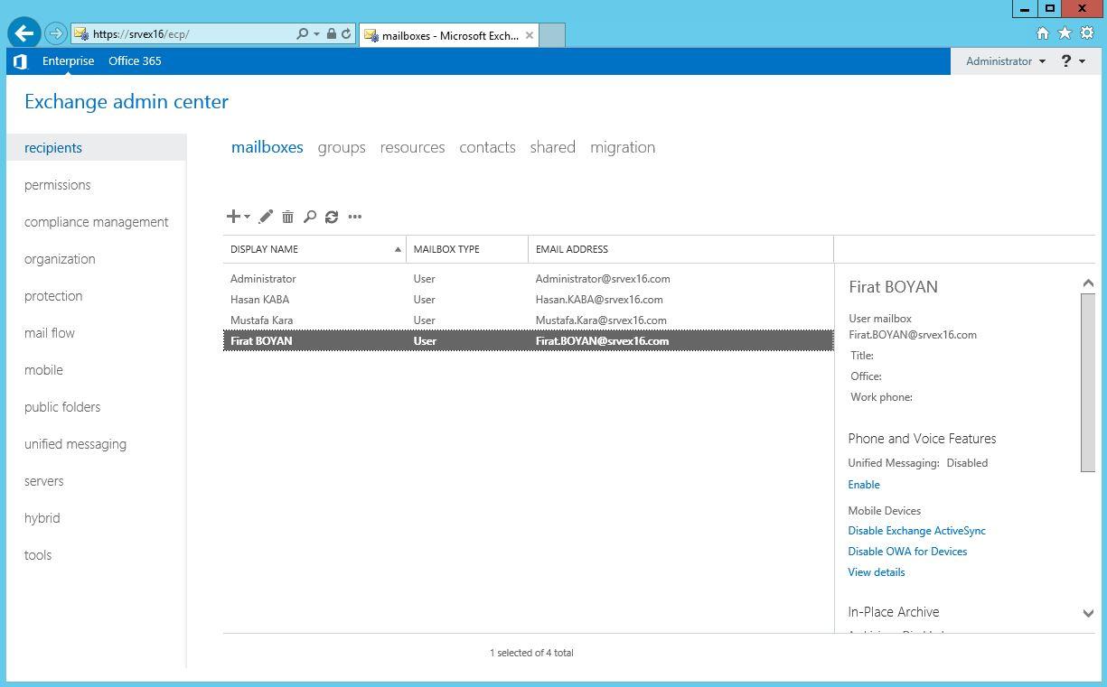 Exchange Server 2016 User Mailbox Boyutu Yapılandırması