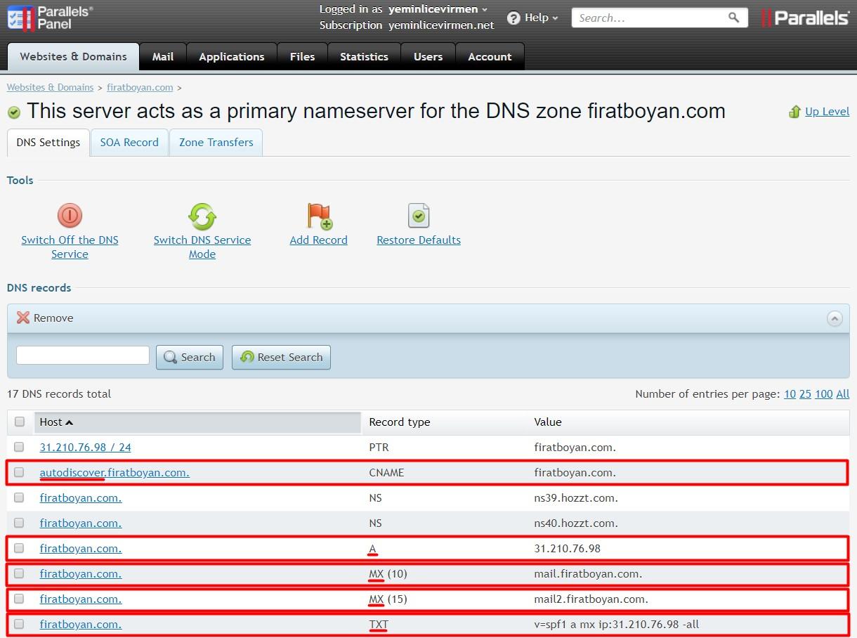 exchange server 2019 DNS yapılandırması