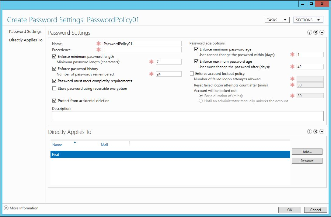 Windows Server 2012 Fine Grained Password Policy