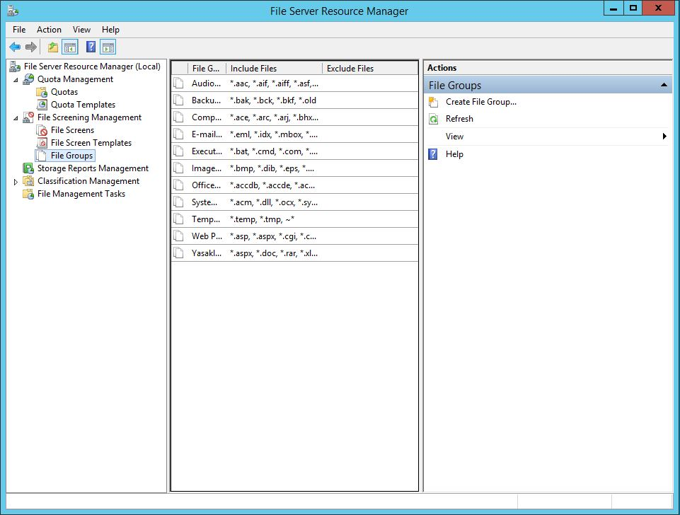 Windows Server 2012 R2 File Server File QuotaYönetimi