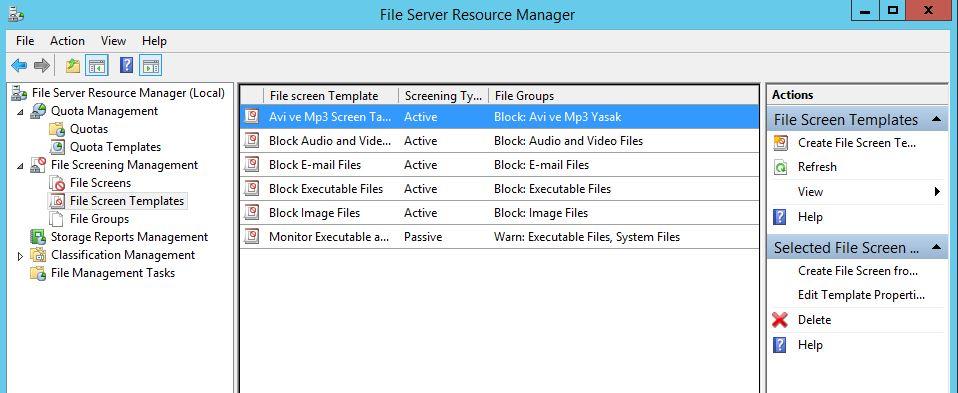 Windows Server 2012 R2 File Server File QuotaYönetimi