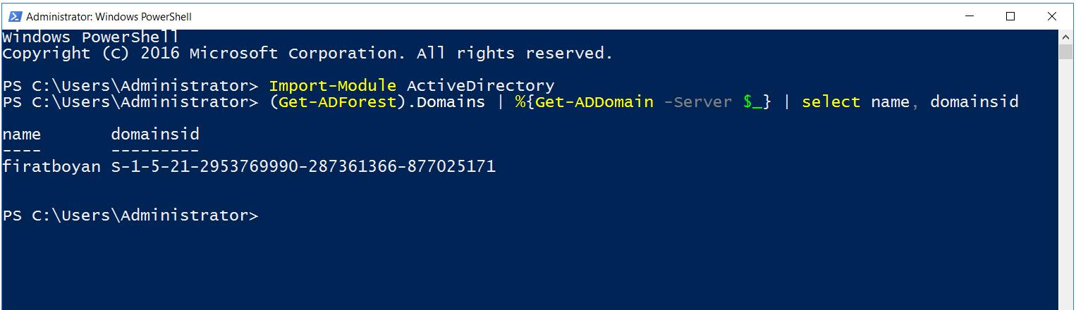 PowerShell ile Domain SID Bulma