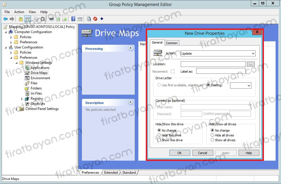 Group Policy ile Map Drive