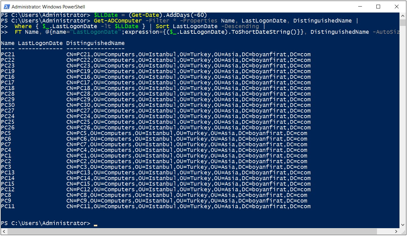 PowerShell Lastlogon Script