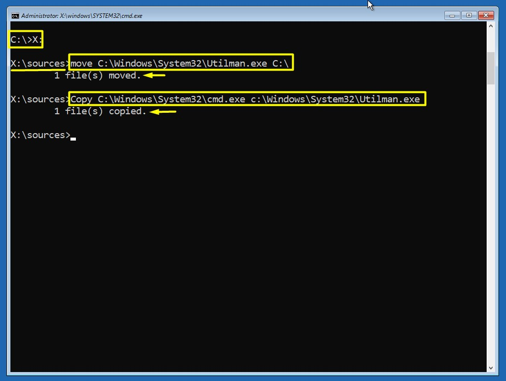 Utilman.exe ile Local Administrator Hesanını Enable Etme