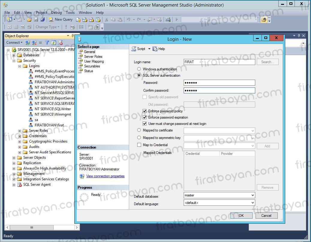 SQL Server Kullnıcı Oluşturma, Rol ve İzin Ataması Yapma