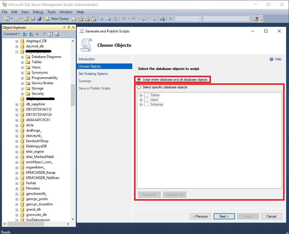 SQL Server 2014 veritabanı yedeğini script ile alma