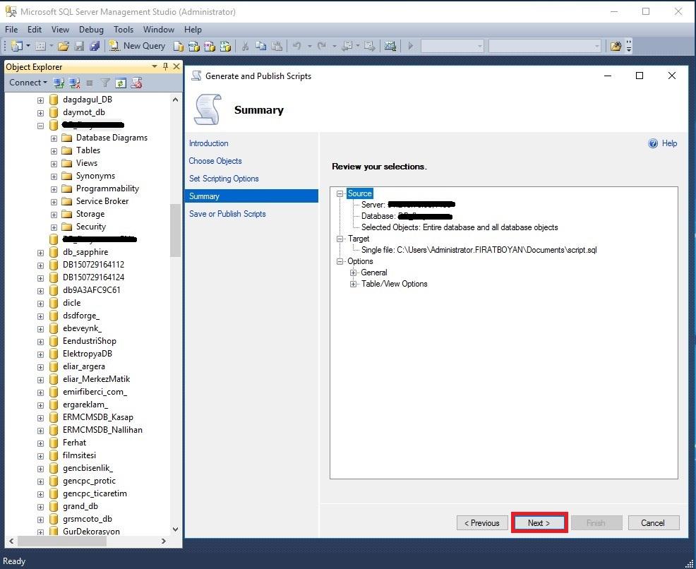 sql server 2014 veritabani yedeğini script ile alma
