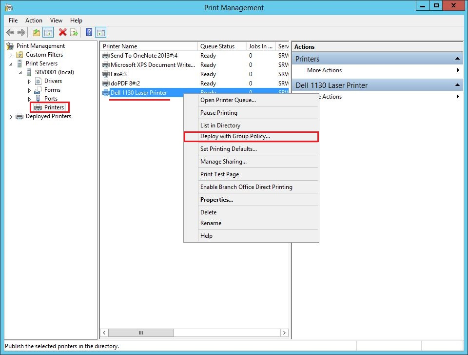 Deploy with Group Policy ile Yazıcı-Printer Deploy Etme