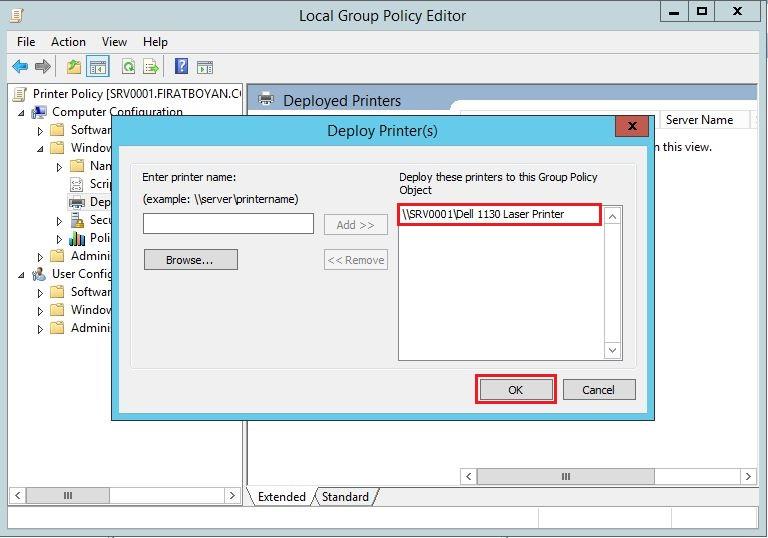 Deploy with Group Policy ile Yazıcı-Printer Deploy Etme