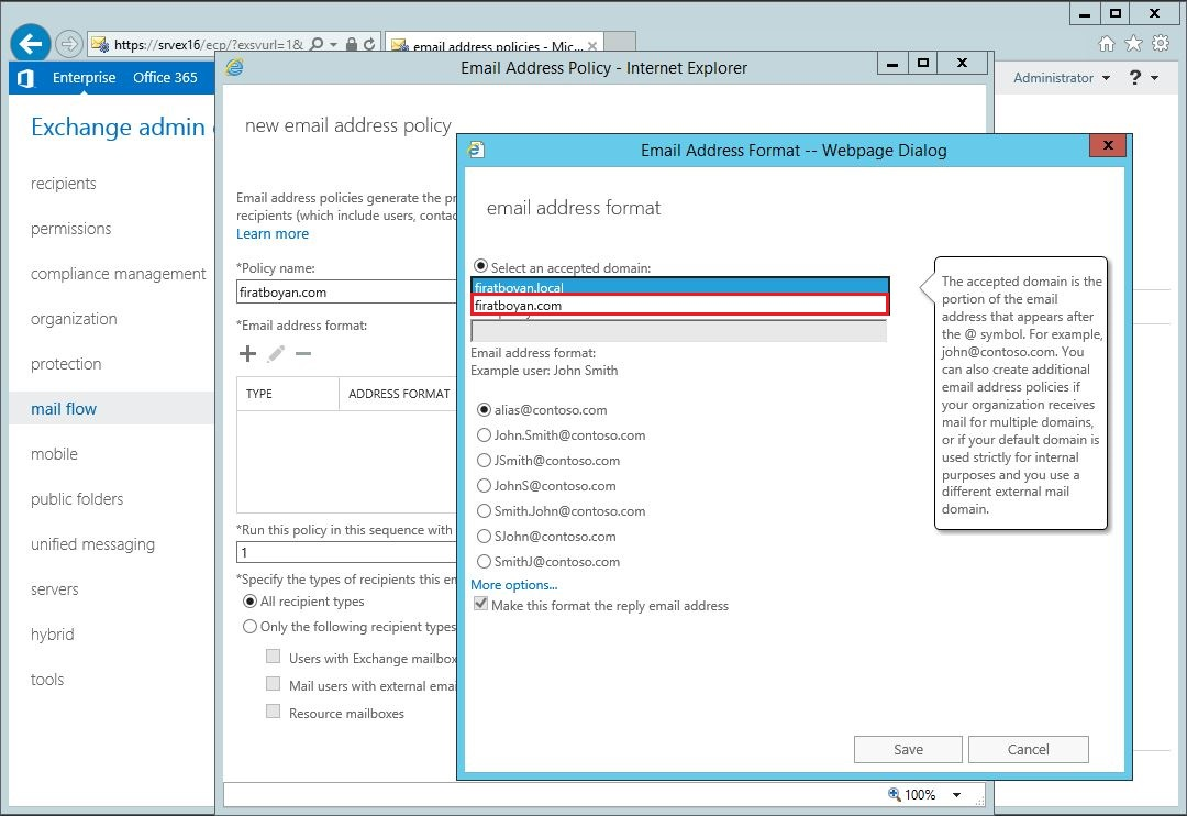Exchange server 2016 Email Address Policy