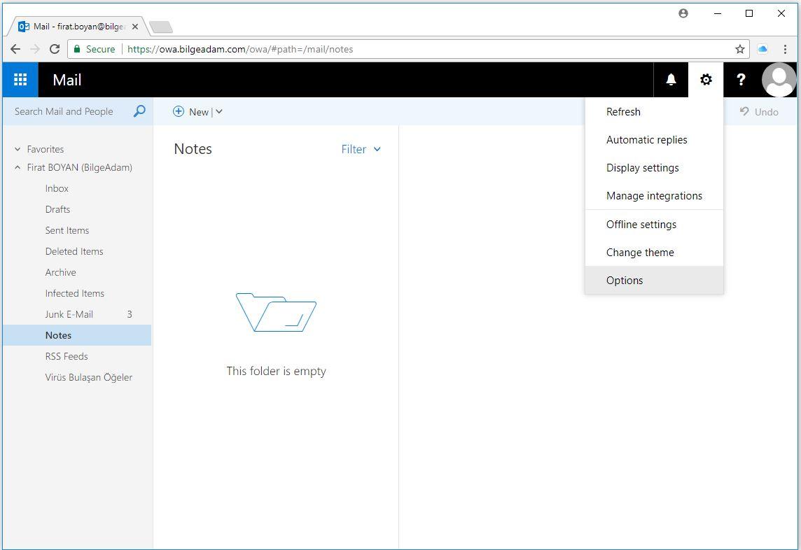 OWA-Outlook Web Access Üzerinden Parola Değiştirme
