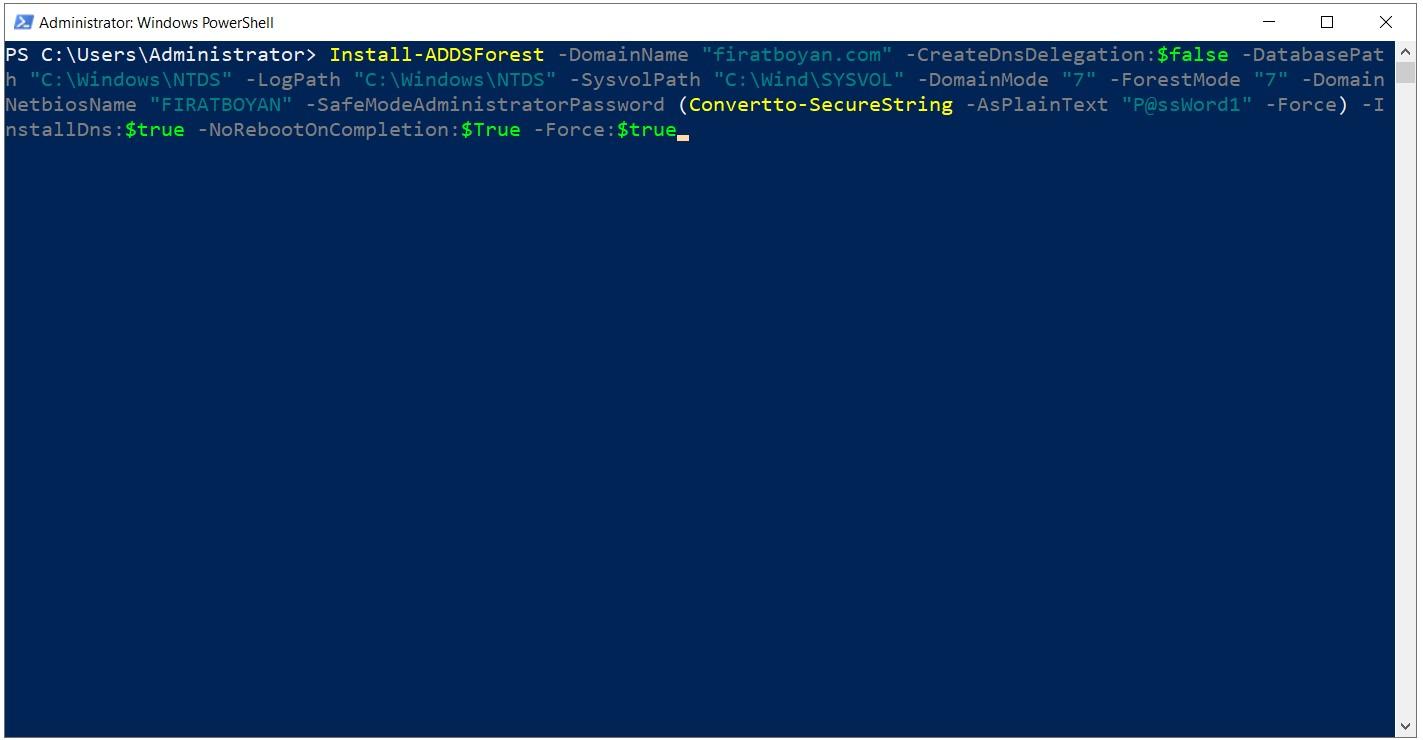 Powershell ile Active Directory 2019 Kurulumu