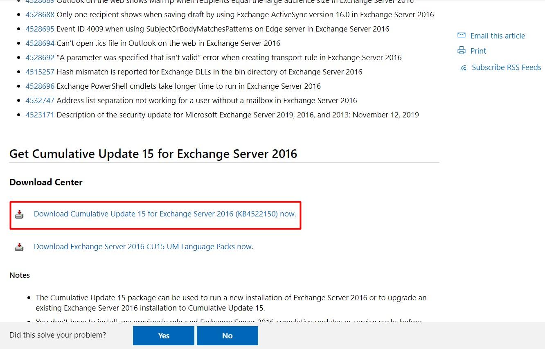 Exchange Server 2016 Cummulative Update (CU) 15 Yayınlandı.